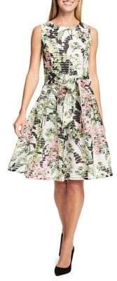 Tommy Hilfiger Floral Sheer Stripe Fit-and-Flare Dress