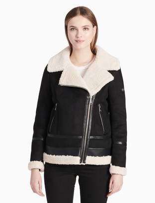 Calvin Klein faux shearling asymmetric zip jacket