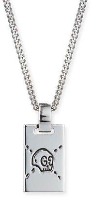 Gucci Men's GucciGhost Rectangle Pendant Necklace, Silver $290 thestylecure.com