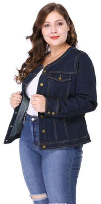 Unique Bargains Women's Long Sleeves Collarless Denim Jacket, Plus Size