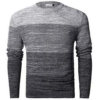 Chain Stitch Men's Gradient Faded Knitted Pullover Crew Neck Sweater White Black