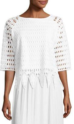 Joan Vass Woven Lace Top, White, Petite