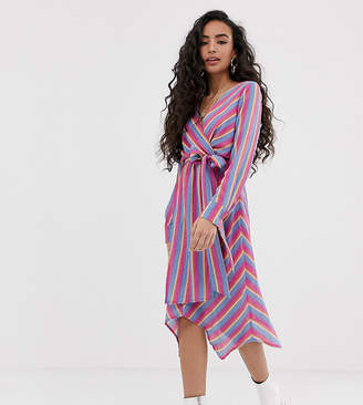 Glamorous Petite wrap front dress with tie waist in bright stripe