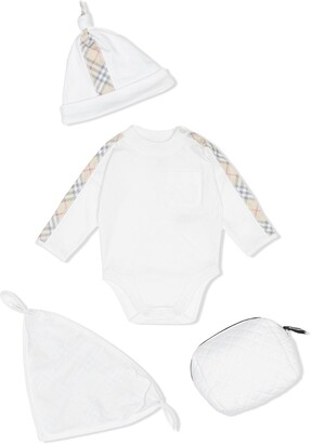 Burberry Check Detail Cotton Three-piece Baby Gift Set