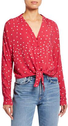 Rails Sloane Hearts Tie-Hem Shirt