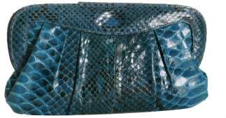 Dania Reiter teal python pleated clutch