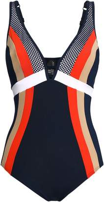 Jets Ultraluxe Plunged Mesh-paneled Color-block Underwired Swimsuit
