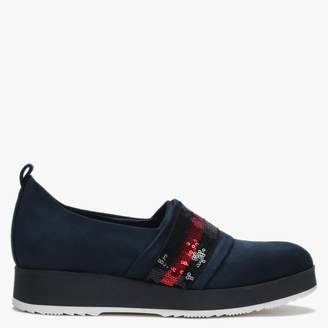 Blue Suedette Sequin Stripe Sporty Loafers
