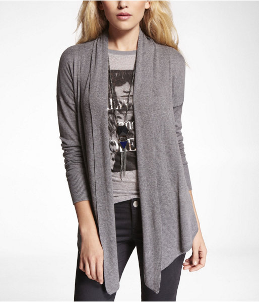 Express Pointed Hem Open Cover-Up Sweater
