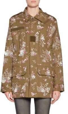 Saint Laurent Floral Embroidered Military Jacket