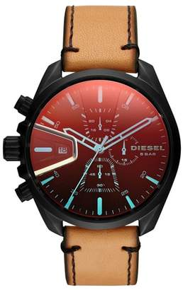 DIESEL(R) MS9 Chronograph Leather Strap Watch, 47mm