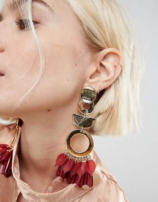 Asos Design Statement Petal and Shape Drop Earrings