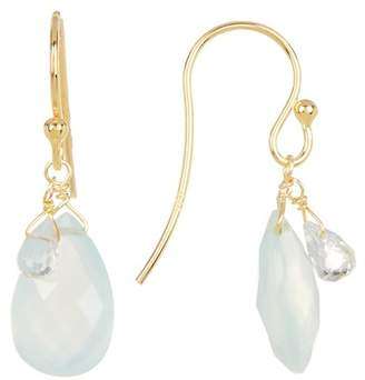 Candela 18K Yellow Gold Vermeil Briolette Aqua Chalcedony Teardrop Earrings