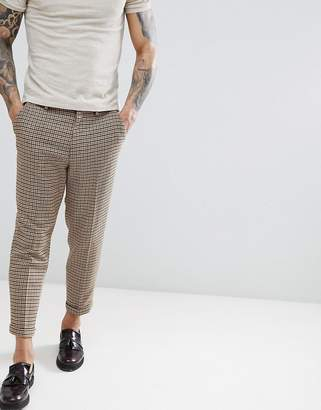 Asos Design Drop Crotch Tapered Mini Check Pant With Turn Up