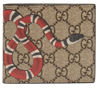 Gucci Gg Supreme Kingsnake Bi Fold Wallet - Mens - Brown Multi