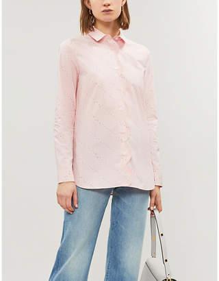 Ganni Weston scalloped cotton shirt