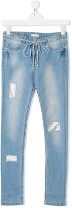 Elsy TEEN embellished-patches skinny jeans