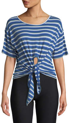Opening Ceremony Striped Tie-Front Short-Sleeve Tee