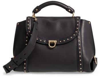 Salvatore Ferragamo Medium Sofia Studded Leather Satchel - None