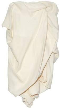 Rick Owens Strapless Draped Silk And Wool-Blend Mini Dress