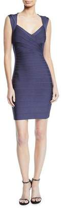 Herve Leger Crisscross-Front Bandage-Knit Bodycon Cocktail Dress