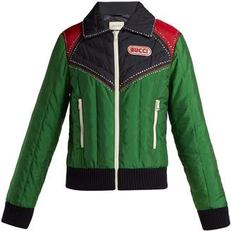 Gucci Crystal-embellished padded bomber jacket