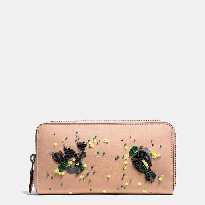 Coach   COACH Coach Accordion Zip Wallet In Glovetanned Leather With Meadowlark Embellishment