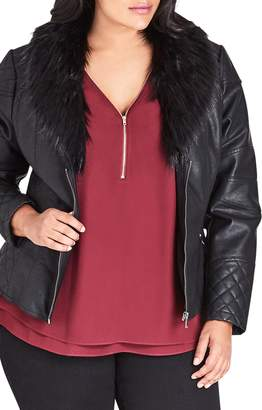 City Chic Faux Leather Jacket with Faux Fur Collar