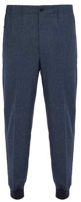 Alexander McQueen Cuffed Wool Flannel Trousers - Mens - Navy