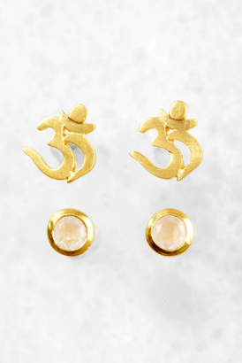 Satya Jewelry Open Hearted Rose Quartz Sun Earrings Rose cTW4TGDbl