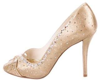 Stuart Weitzman Satin Embellished Pumps