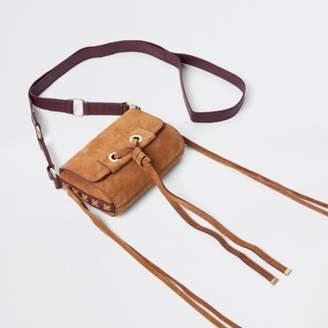 River Island Beige mini leather knot cross body bag