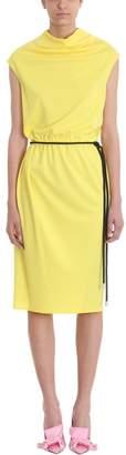 Marc Jacobs Drapped Yellow Cr?pe Tie Waist Dress