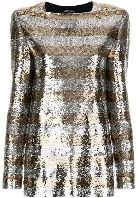 Balmain striped sequin top