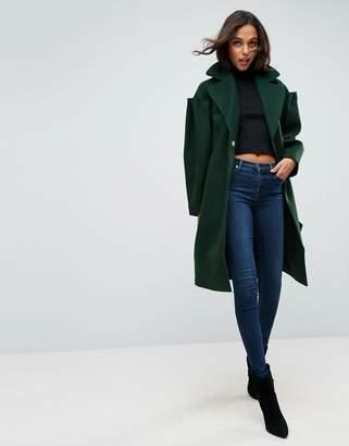 Asos Design Slim Coat with Statement Sleeve