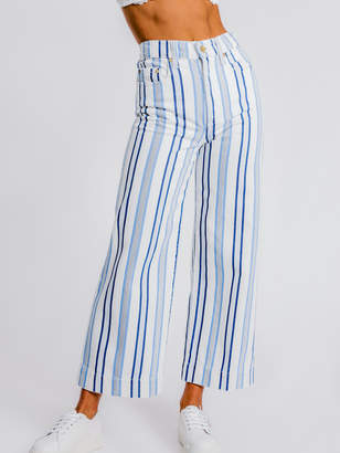 Nobody Denim Monte Carlo Super High Rise Wide Leg Pants in Blue White Stripe Denim