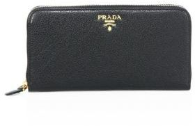 prada Prada Pebble Leather Two-Tone Zip Wallet