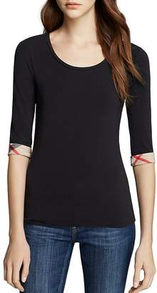 Burberry Scoop Neck Three Quarter Sleeve Tee with Check Cuffs