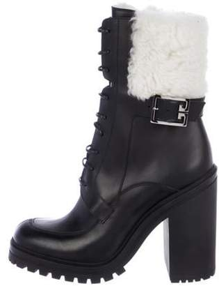 Givenchy Leather Round-Toe Mid-Calf Boots Black Leather Round-Toe Mid-Calf Boots