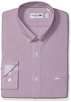 Lacoste Men's Long Sleeve with Pocket Poplin Mini Check Regular Fit Woven Shirt