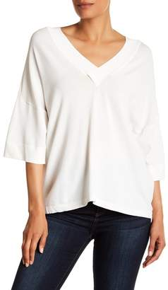 Milly Drape V-Neck Pullover Sweater
