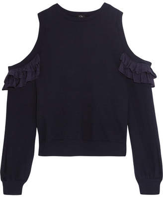 CLU - Cold-shoulder Ruffled Silk-trimmed Cotton-jersey Sweatshirt - Storm blue $300 thestylecure.com