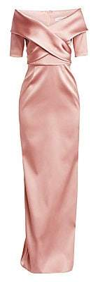 Teri Jon by Rickie Freeman Women's Off-The-Shoulder Stretch Satin Gown