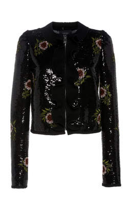 d066663ed2ec at Moda Operandi · Giambattista Valli Sequin Embellished Moto Jacket With  Floral Appliques