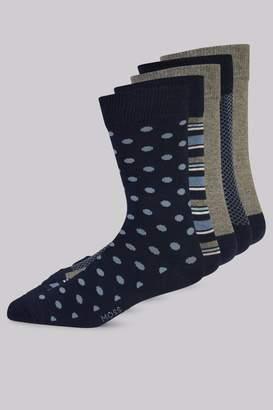 Moss Bros Navy 5 Pack Cotton Blend Socks