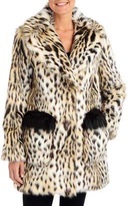 Rachel Roy Leopard-Print Faux-Fur Walker Coat