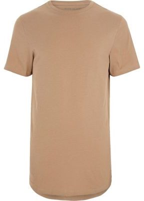 River Island Mens Camel brown curved hem T-shirt