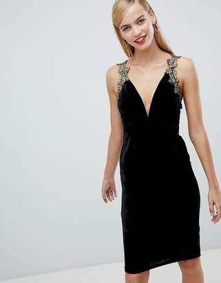 Rare London plunge velvet dress
