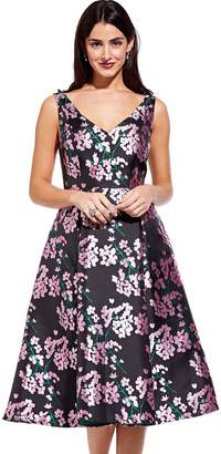 Adrianna Papell Pink And Black Flower Flared Tea Dress