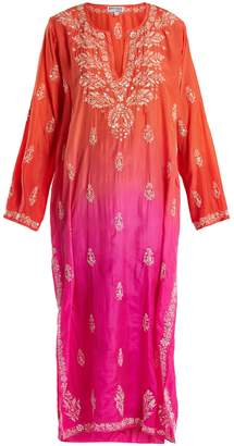Juliet Dunn Floral-embroidered ombré silk kaftan